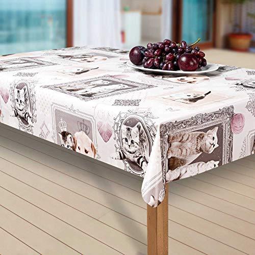 laro Wachstuch-Tischdecke Abwaschbar Garten-Tischdecke Wachstischdecke PVC Plastik-Tischdecken Eckig Meterware Wasserabweisend Abwischbar at, Größe:118-118 cm, Muster:Katze, Katzenmotiv