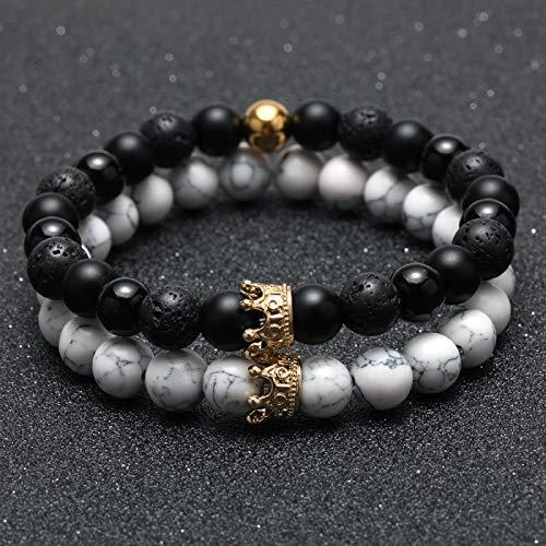 dingtian Pulsera de 2 pulseras para hombre, corona de oro, pulsera de cuentas de piedra natural, pulsera bohemia, para parejas, regalos para amigos