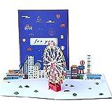 DEESOSPRO® [Tarjeta de Cumpleaños] [Tarjeta de Aniversario] [Tarjeta de Graduación] con Patrón Emergente 3D Creativo, Regalo para Cumpleaños, Graduación, Navidad, Día del Niño (Parque de atracciones)