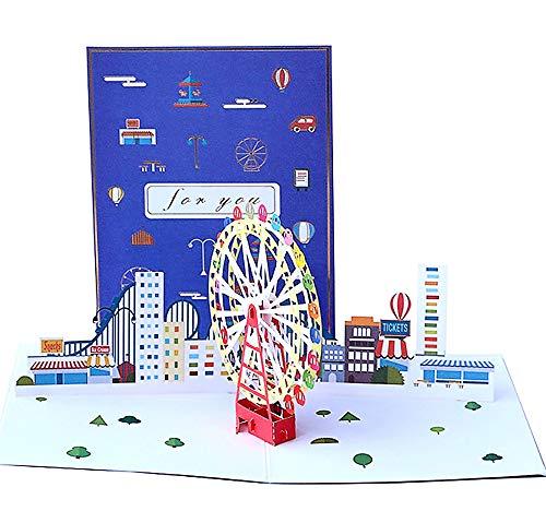 DEESOSPRO® 3D Pop Up [Geburtstagskarte] [Grußkarte] [Jubiläumskarte] [Abschlusskarte] mit Kreativem Papierschnittmuster, Geschenk für Geburtstag, Abschlussfeier, Weihnachten, Kindertag (Freizeitpark)