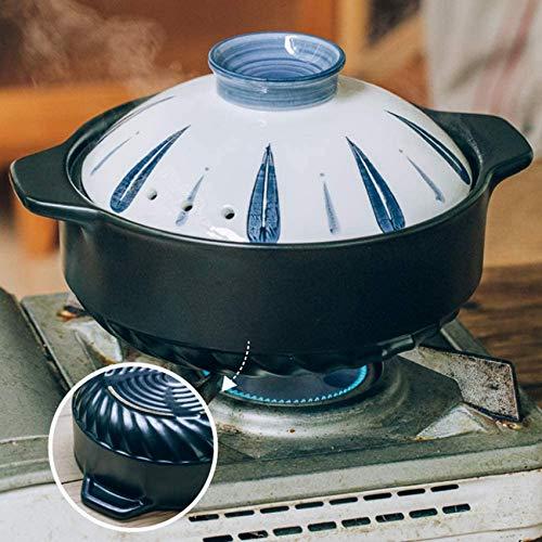 FWZJ Cocotte Ronde en céramique avec Couvercle, Hot Pot Japonais à Double poignée, marmite Doveware, marmite Couverte, marmite en Argile Isolante, Casserole en céramique Noir 4,5l