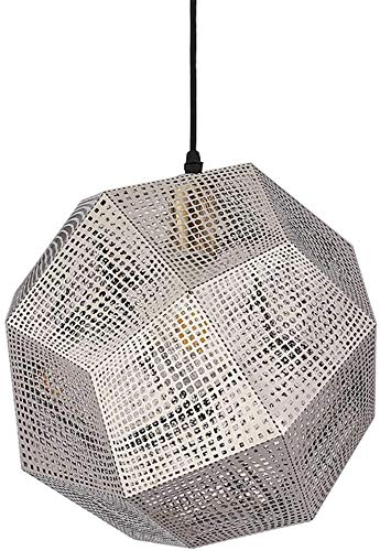 Roestvrij stalen hanglamp, Nordic elektroplated metaal Geometric Hollow 360 & deg; verlichting restaurant hangende kroonluchter 110-120 V / 220-240 V / E27, zilver