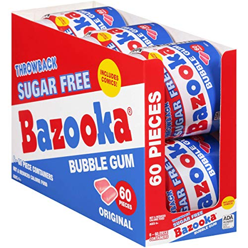 Bazooka Bubble Gum Sugar Free Original 60Count To Go Cup Pack Of 6