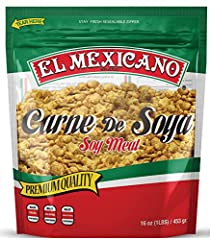 Premium Quality 1 Lb Minced Soy Meat/1 Lb Carne de Soya de Calidad Meat Substitute/ Non GMO Stay Fresh Resealable Zipper Dish Reccomendations on Package/ Mix Instructions Low Fat/ Low Calories/ Low Cholesterol