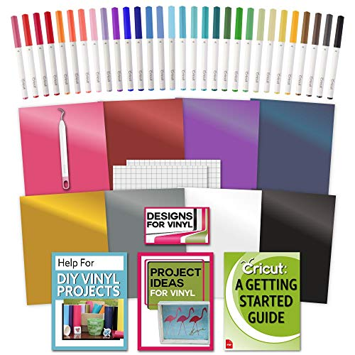 Cricut Machine Vinyl, Transfer Paper, Bulk Pen Set, Weeder Tool and Beginner Guide