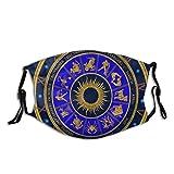 WINCAN Face Cover,Astrologia analogica Blu Antica dell'orologio dello Zodiaco,Passamontagna Unisex Riutilizzabile Antivento Anti-Polvere Bocca Bandana Ghetta con 2 filtri
