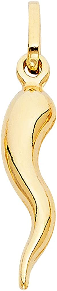 14k Yellow Gold Cornicello Italian Horn Charm Pendant - 4 Differnet Size Available