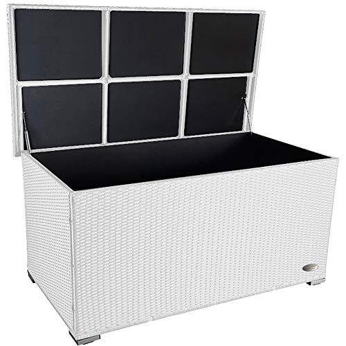 PREMIUM \'Venezia\' 950 L Polyrattan Garten Kissenbox wetterfest (regnet nicht rein) 146 x 83 x 80 cm, Auflagenbox mit verstärktem Deckel und Gasdruckfedern, auch als Tischplatte geeignet, Weiss