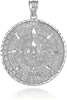 .925 Sterling Silver Round Aztec Mayan Calendar Charm Pendant - 30.48 Millimeters