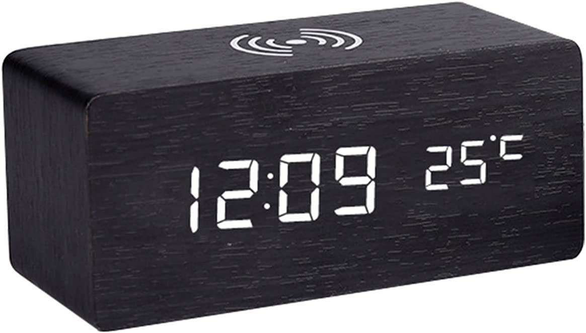 Fuxwlgs Alarm Clock Modern Very popular depot Wooden Cl Desk Digital Wood LED