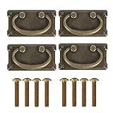 4 Piezas Tiradores Para Cajones Vintage, Tiradores De Bronce Antiguo, Tiradores De Cajón Antiguos Plegable Diseño De Hierro Bronce, Para Puertas De Armarios, Cómodas Etc