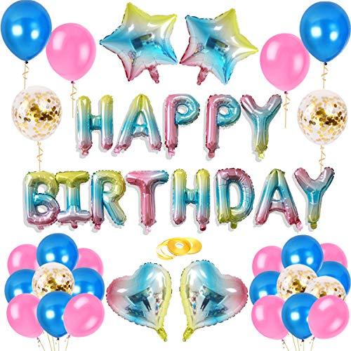 sancuanyi Deko Geburtstag Regenbogen Farbe, Geburtstag Dekoration Set, Happy Birthday Banner Folienballon Konfetti Luftballons Herz Stern Folienballon für Mädchen und Jungen