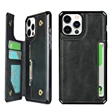 Cavor Case for iPhone 12 and iPhone 12 Pro (6.1'), Wallet Case with Card Holder [4 Card Slots] [Wrist Strap] PU Leather Flip Shockproof Cover for iPhone 12/12 Pro - Black