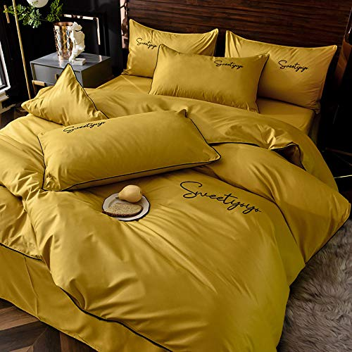 geek cook Bedding 4 Piece,Four-piece silk washable ice silk light quilt cover sheet naked sleeping quilt cover-Ming Huang_2.0m bed: quilt cover 220 * 240