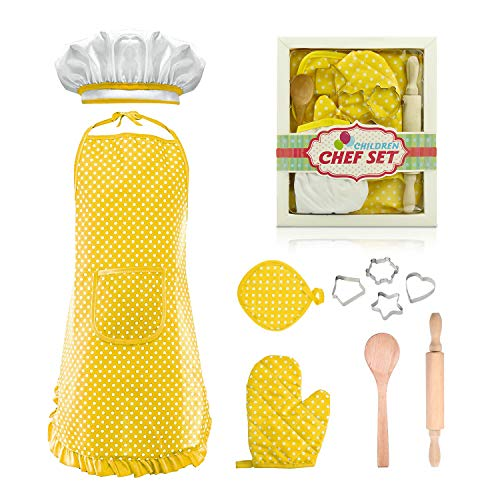 dmazing Cute Toys for 3-8 year old Kids Easter Gifts, Cooking and Baking Set for Toddler Boys Girls Role Play Cook Costume with Apron Gifts for Age 3-8 Girls Yellow