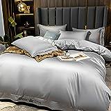 Set biancheria da letto con tessuto antipiega,Biancheria da letto copripiumino Set King Size 3 PCS Grey Seta come Satin Ultra Soft 1 Piumino Cover e 2...