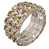 Pashal - Anillo elástico de Tres Filas de Diamantes de imitación, Color champán