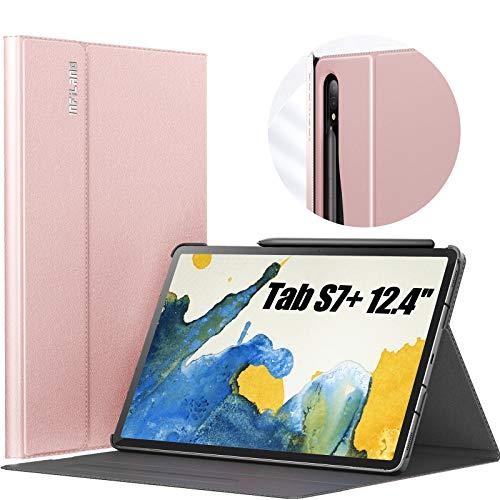 INFILAND Custodia per Samsung Galaxy Tab S7+/S7 Plus 2020, Supporto Anteriore Custodia Cover per Samsung Galaxy Tab S7+/S7 Plus 12.4 (T970/T975/T976) 2020, Automatica Svegliati/Sonno,Rosa Dorado