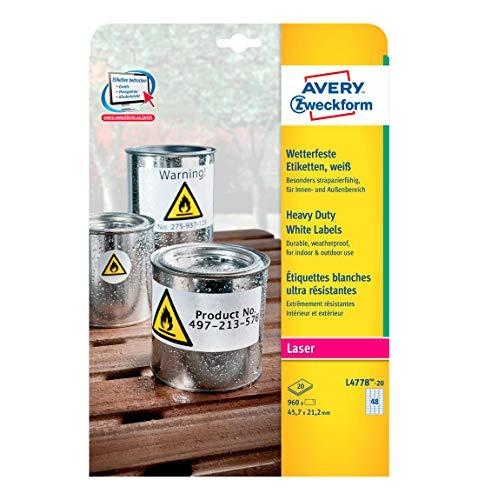 Avery Zweckform© L4778-20 Wetterfeste Folien-Etiketten, 45,7 x 21,2 mm, wetterfest, 20 Blatt/960 Etiketten, weiá