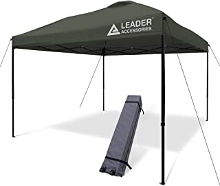 Leader Accessories Pop Up Canopy Tent 10'x10' Canopy Instant  Canopy Shelter Straight Leg Including Wheeled Carry Bag,Grey