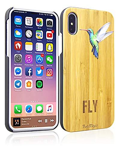 FustaMàgica Cover in legno per iPhone 6 Plus Colibrì Bamboo iPhone i6P Case Hummingbird Compatibile con iPhone 6P 7P 8P