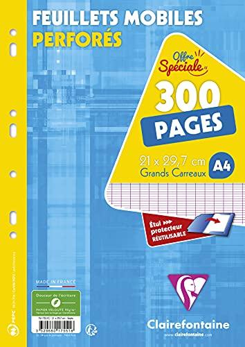 Clairefontaine 17551C Un Étui de Feuillets Mobiles Perforés - A4 21x29,7 cm 300 Pages Grands Carreaux Papier Clairefontaine Blanc 90 g - Étui Réutilisable