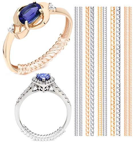 Ringgrößenversteller für lose Ringe, Ring selbst Verkleinern, Transparente Ringeinlagen, Reduzierschutz, Unsichtbarer Einstellring für die Ringgröße - Ideal für Gold und Silberschmuck