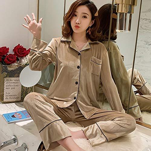 Cálidos Pijamas para Mujer,Conjunto De Pijama De 2 Piezas De Terciopelo A La Moda De Color Caqui para Mujer, Conjunto De Vestido Vintage De Invierno De Color Sólido, Ropa De Dormir Sexi para Mujer