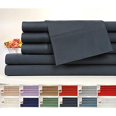 OrganicPro 100% Certified Organic Cotton 4 Piece Full Bed Sheet Set by Cifelli Home – Deep Pocket & Eco-Friendly (Full, Slate Grey)