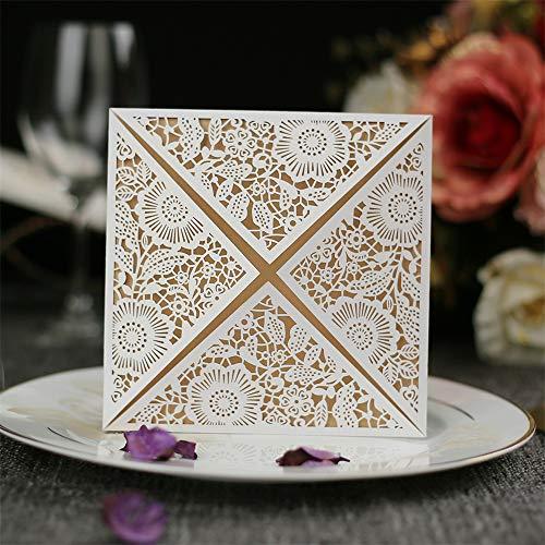 carol -1 10 Stück Einladungskarten Hochzeit Hochzeitskarte Hochzeitseinladung Glückwunschkarte Grußkarte Spitze Design Enthalt Einladungkarte, Innere Blatt, Umschlag, Schleife