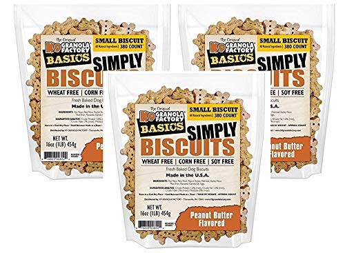 K9 Granola Factory 3 Pack of Simply Biscuits with Peanut Butter, Small (350 Count / 16 Ounce Bag)