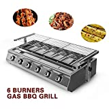 Barbecues Grill, <span class='highlight'>Gas</span> Barbecue Portable Tabletop Grill for Outdoor Nonstick Roasting Tray LPG <span class='highlight'>Gas</span> 6 Burners