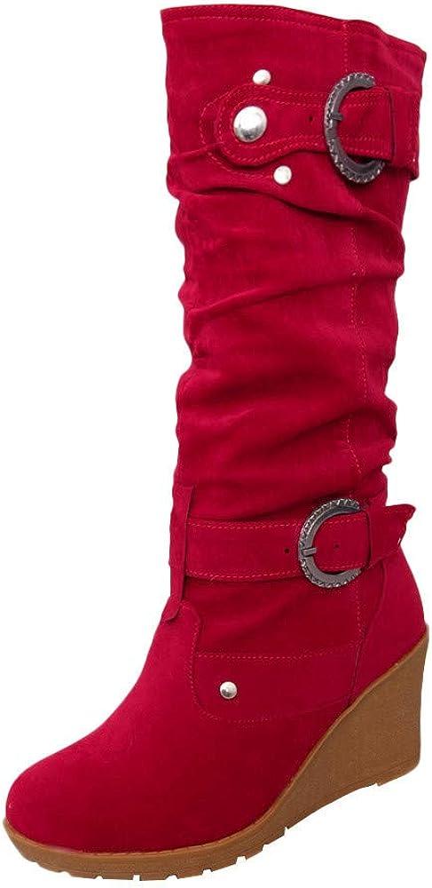 BaZhaHei Donna Scarpa,Ragazza Stivali Zeppe Tubo Lungo Stivale,Invernali//Autunno Tacchi Alti Scarpe Singole Stivaletti Flat Shoes Casual con Tacco Basso Stivale,Boots Moda da Donna