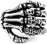 LAMUCH Men's Vintage Wide Stainless Steel Band Rings Silver Black Skull Hand Bone Biker Rings US Size 7-13