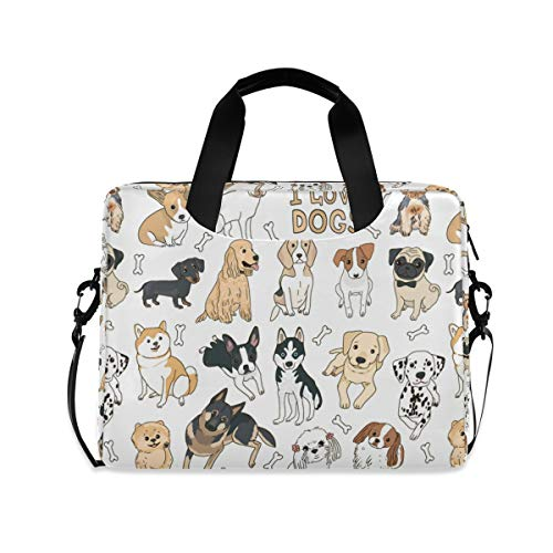 ALAZA Doodle Dog Pug Corgi Golden Retriever Husky Labrador Dachshund Laptop Case Bag Sleeve Portable Crossbody Messenger Briefcase w/Strap Handle, 13 14 15.6 inch
