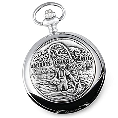 60th Birthday Gift, Engraved Pocket Watch with Pewter Fly Fishing Case in a Presentation Box by The Great Gifts Company