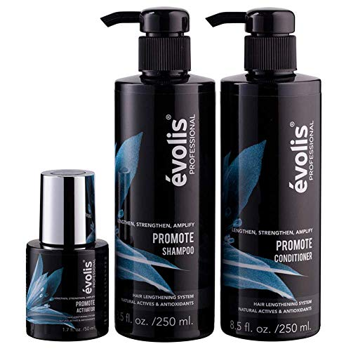 évolis PROMOTE 3 Step System - Activator, Shampoo & Conditioner - Hair Growth Stimulating Treatment for Longer, Stronger Hair - Lengthens and Protects Hair - Keratin Hair Growth Treatment