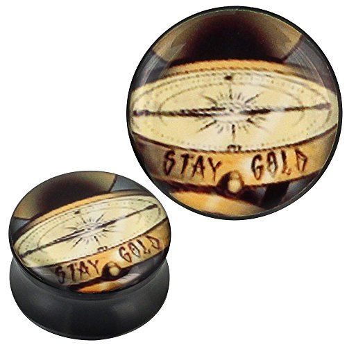 Plug Acryl Goldmünzen STAY GOLD schwarz Piercing Ohrschmuck 14 mm