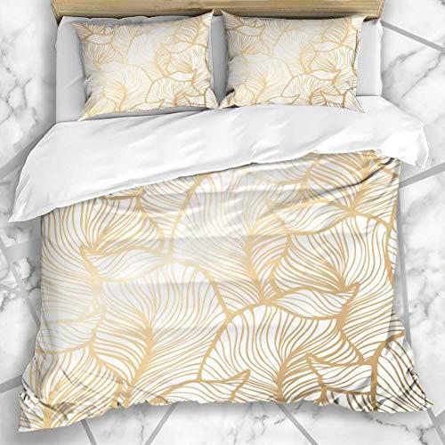 Qoqon Duvet Cover Sets Rich Navy Damask Floral Pattern Royal Ornate Vintage Gold Leaf Nature Abstract Design Microfiber Bedding with 2 Pillow Shams