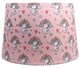 Unicorn Lampshade or Ceiling Light Shade Pink Silver Glitter Detail Horse Pony Girls Bedroom Rainbow Nursery 11' Dual Purpose
