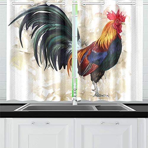 MOVTBA Rooster Digital Painting Rooster Cock Kitchen Curtains Window Curtain Tiers for Café, Bath, Laundry, Living Room Bedroom 26 X 39 Inch 2 Pieces