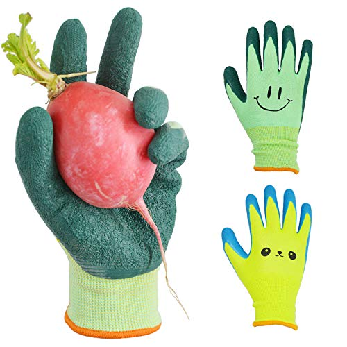 GLOSAV Kids Gardening Gloves for Ages 2-12 Toddlers, Youth, Girls, Boys, Children Garden Gloves for Yard Work (Size 6 for 11, 12 Year Old)