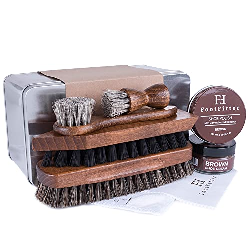 FootFitter Complete Shoe Cleaning, Polishing, and Shining Set- Brown