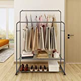 <span class='highlight'><span class='highlight'>BOFENG</span></span> Metal Garment Rack Heavy Duty Double Rail Clothes Rack Organizer 2-Tier Storage Shelf for Boxes Shoes Boots Commercial Grade Multi-Purpose