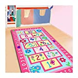 FADFAY Home Textile,Fashion Hopscotch Kids Carpet Bedroom,Sweet Pink Rug,Designer Figure Children's Rugs