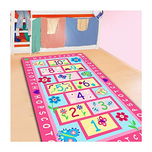 FADFAY Home Textile,Fashion Hopscotch Kids Carpet Bedroom,Sweet Pink Rug,Designer Figure Children's Rugs by