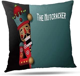 Pakaku Nutcracker Christmas Wooden Pillowcase, Throw Pillow Covers, Christmas Wooden Soldier Toy Gift Ballet Home Sofa Cushion Cover Gift Double Sided Pattern 16 x 16 inch