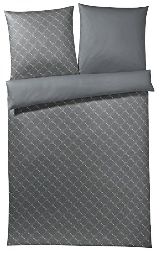 Joop, Mako-Satin-Bettwäsche, Kornblumen-Muster mit nuancierten Farben 135x200 + 1x 80x80 grau