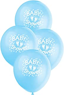 "Unique Party Baby Steps Baby Shower Latex Balloons, Blue, 30cm/12"", Pack of 6"