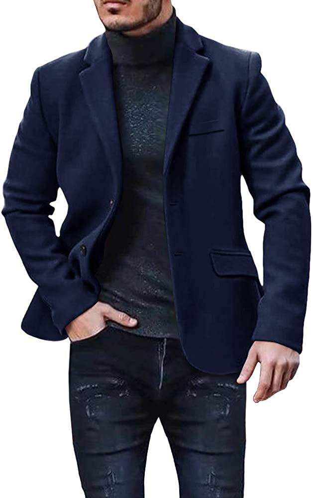Pengfei Mens Winter Coat Suit Blazer Jacket Business Winter Overcoats Sport Coats